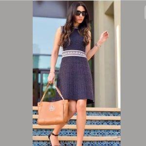Tory Burch Navy Geo Cotton Knit Dot Dress M $395